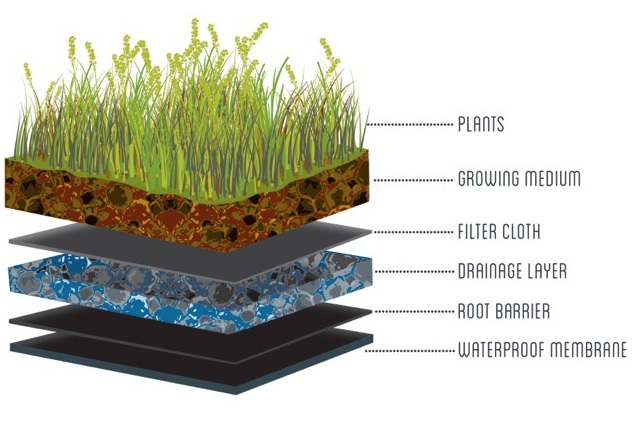 green roof layers and systems restoration gardens inc